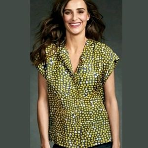 CAbi #183 Dot & Clover Brown Gold Blouse Small